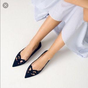 Zara laser cut navy blue suede pointed flats